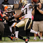New Orleans Saints cornerback Malcolm Jenkins (27) breaks up a pass intended for Cleveland Browns wide receiver Josh Cribbs (16) during the first quarter of an NFL football game at the Louis …