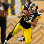Pittsburgh Steelers safety Troy Polamalu (43) intercepts a pass from Cleveland Browns wide receiver Josh Cribbs during the second quarter of an NFL football game Sunday Oct. 18, 2009. (AP Ph …
