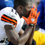 Cleveland Browns' receiver Mohamed Massaquoi (11) sits on the bench during the fourth quarter of an NFL football game against the Pittsburgh Steelers in Pittsburgh, Sunday, Oct. 18, 2009. Th …