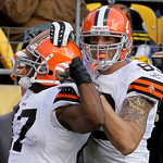 Cleveland Browns' Lawrence Vickers, left, celebrates with teammate Greg Estandia after scoring on a one-yard pass from Browns quarterback Derek Anderson in the third quarter of an NFL footba …