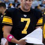 Pittsburgh Steelers quarterback Ben Roethlisberger walks on the sidelines after throwing a touchdown pass to Heath Miller in the fourth quarter of an NFL football game against the Cleveland …