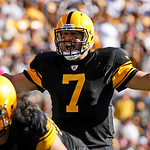 Pittsburgh Steelers quarterback Ben Roethlisberger (7) lines up before throwing a third-quarter touchdown to Hines Ward during an NFL football game against the Cleveland Browns in Pittsburgh …