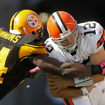 Pittsburgh Steelers linebacker Lawrence Timmons (94) sacks Cleveland Browns quarterback Colt McCoy (12) in the third quarter of an NFL football game, Sunday, Oct. 17, 2010 in Pittsburgh. The …