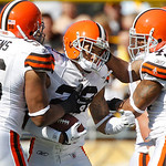 Cleveland Browns cornerback Joe Haden (23) celebrates with teammates after making an interception off Pittsburgh Steelers quarterback Ben Roethlisberger in the first quarter of an NFL footba …