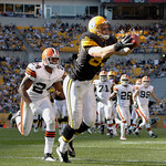 Pittsburgh Steelers tight end Heath Miller (83) makes a catch for a touchdown in front of Cleveland Browns cornerback Sheldon Brown (24) in the fourth quarter of an NFL football game, Sunday &#8230;