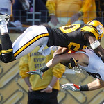 Pittsburgh Steelers cornerback Bryant McFadden, top, breaks up a pass for Cleveland Browns tight end Evan Moore in the end zone in the fourth quarter of an NFL football game, Sunday, Oct. 17 …