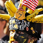 Pittsburgh Steelers fan Don Galla watches warm ups before an NFL game against the Cleveland Browns in Pittsburgh, Sunday, Oct. 17, 2010. (AP Photo/Gene J. Puskar)