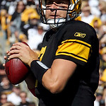 Pittsburgh Steelers quarterback Ben Roethlisberger looks to pass in the first quarter of an NFL football game against the Cleveland Browns in Pittsburgh, Sunday, Oct. 17, 2010. The pass was …