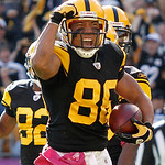 Pittsburgh Steelers wide receiver Hines Ward celebrates a touchdown in the fourth quarter of an NFL football game against the Cleveland Browns, Sunday, Oct. 17, 2010, in Pittsburgh. The Stee &#8230;