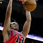 Chicago Bulls&#039; Joakim Noah dunks against the Cleveland Cavaliers in the second quarter of Game 2 in the first round of the NBA basketball playoffs Monday, April 19, 2010, in Cleveland. (AP P &#8230;