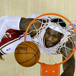 Cleveland Cavaliers&#039; LeBron James watches his shot in the first quarter of Game 2 against the Chicago Bulls in the first round of the NBA basketball playoffs Monday, April 19, 2010, in Cleve &#8230;