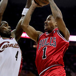 Chicago Bulls&#039; Derrick Rose (1) takes a shot against Cleveland Cavaliers&#039; Antawn Jamison (5) in the first quarter of Game 2 in the first round of the NBA basketball playoffs Monday, April 19 &#8230;