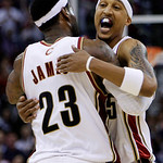 Cleveland Cavaliers&#039; Jamario Moon gets a hug from LeBron James (23) after Moon&#039;s 3-point basket against the Chicago Bulls late in the fourth quarter of Game 2 in the first round of the NBA b &#8230;