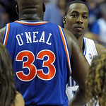 Cleveland Cavaliers center Shaquille O'Neal, left, and Orlando Magic center Dwight Howard embrace after an NBA basketball game in Orlando, Fla., Sunday, Feb. 21, 2010. The Magic won 101-95. …