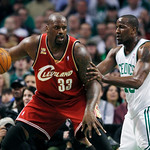 Cleveland Cavaliers' Shaquille O'Neal (33) looks to make a move against Boston Celtics' Kendrick Perkins in the first quarter of an NBA basketball game, Thursday, Feb. 25, 2010, in Boston. ( …