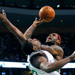 Boston Celtics' Tony Allen, left, fouls Cleveland Cavaliers' LeBron James in the third quarter of an NBA basketball game, Thursday, Feb. 25, 2010, in Boston. The Cavaliers won 108-88. (AP Ph …