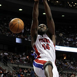 Detroit Pistons forward Jason Maxiell dunks against the Cleveland Cavaliers in the second half of an NBA basketball game in Auburn Hills, Mich., Tuesday, March 16, 2010. Cleveland won 113-10 …
