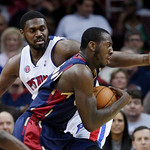 Cleveland Cavaliers' J.J. Hickson, right, drives past Detroit Pistons' Jason Maxiell in the third quarter of an NBA basketball game Sunday, March 21, 2010, in Cleveland. Hickson and Anthony …
