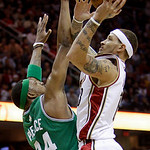 Cleveland Cavaliers' Delonte West, right, shoots over Boston Celtics' Paul Pierce in the first quarter of Game 5 of a second round NBA basketball playoff series Tuesday, May 11, 2010, in Cle …