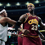 Cleveland Cavaliers forward LeBron James (23) is defended by Boston Celtics forward Paul Pierce, left, during the first half of Game 4 in a second-round NBA basketball playoff series in Bost …