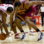 Houston Rockets' Chuck Hayes (44) and Cleveland Cavaliers' forward Samardo Samuels try to get control of the ball in the second half of an NBA preseason basketball game Sunday, Oct. 10, 2010 …