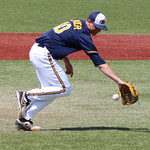 Kent State Pitcher Eric Lauer makes the play to get the out at first. CHRISTY LEGEZA/CHRONICLE