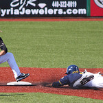 Kent State first baseman Cody Koch steals second base against Western Michigan shortstop Andrew Sohn. CHRISTY LEGEZA/CHRONICLE