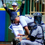 Kent State right fielder T.J. Sutton caught a pop fly to end the game against Akron.  KRISTIN BAUER | CHRONICLE