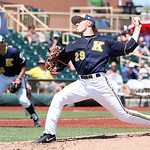 Kent State's Michael Clark pitches against Akron in the fifth inning. ANNA NORRIS/CHRONICLE