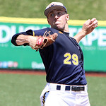 Kent State's Michael Clark pitches against Akron in the sixth inning. ANNA NORRIS/CHRONICLE