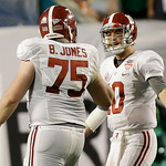 Alabama's AJ McCarron (10) and Barrett Jones argue during the second half of the BCS National Championship college football game against Notre Dame Monday, Jan. 7, 2013, in Miami. (AP Photo/ …