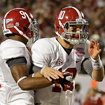 Alabama's Amari Cooper (9) celebrates his touchdown catch with quarterback AJ McCarron (10) during the second half of the BCS National Championship college football game against Notre Dame M …