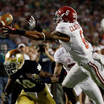 Alabama's Ha'Sean Clinton-Dix (6) intercepts a pass over Notre Dame's DaVaris Daniels (10) during the second half of the BCS National Championship college football game Monday, Jan. 7, 2013, …