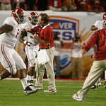 Alabama Defensive Coordinator Kirby Smart reacts against Notre Dame during the first half of the BCS National Championship college football game Monday, Jan. 7, 2013, in Miami. (AP Photo/Joh …