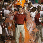 Alabama head coach Nick Saban is dunked with Gatorade in the final seconds of the BCS National Championship college football game against Notre Dame Monday, Jan. 7, 2013, in Miami. Alabama w …