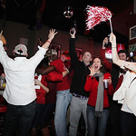 Alabama fans react as they watch a television broadcast of the kickoff of the BCS National Championship college football game against Notre Dame, Monday, Jan. 7, 2013, at Houndstooth Sports  …