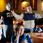 Notre Dame fans Ron Mathews, left, and Lonnie Luna react to an Alabama touchdown while watching a television broadcast of the BCS National Championship college football game, Monday, Jan. 7, …