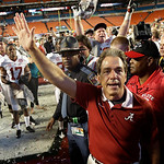 Alabama head coach Nick Saban waves to fans after the BCS National Championship college football game against Notre Dame Monday, Jan. 7, 2013, in Miami. Alabama won 42-14. (AP Photo/David J. …