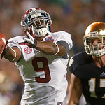 Alabama's Amari Cooper (9) can't come up with a catch in front of Notre Dame 's Zeke Motta (17) during the first half of the BCS National Championship college football game Monday, Jan. 7, 2 …