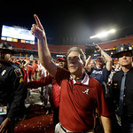 Alabama head coach Nick Saban acknowledges the fans after the BCS National Championship college football game against Notre Dame Monday, Jan. 7, 2013, in Miami. Alabama won 42-14. (AP Photo/ …