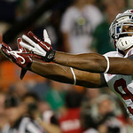 Alabama wide receiver Amari Cooper can't quite come up with a reception during the first half of the BCS National Championship college football game against Notre Dame Monday, Jan. 7, 2013,  …