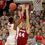 Ohio State's Deshaun Thomas, left, shoots over Wisconsin's Frank Kaminsky during the first half of an NCAA college basketball game Tuesday, Jan. 29, 2013, in Columbus, Ohio. (AP Photo/Jay La …