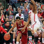 Wisconsin's Traevon Jackson, left, drives the baseline against Ohio State's Lenzelle Smith during the first half of an NCAA college basketball game Tuesday, Jan. 29, 2013, in Columbus, Ohio. …