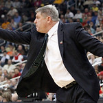 Loyola of Maryland head coach Jim Patsos points toward his team as they play in the first half of an NCAA tournament second-round college basketball game against Ohio State, Thursday, March  &#8230;