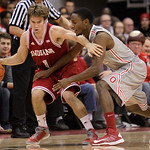 Indiana's Jordan Hulls, left, keeps the ball away from Ohio State's Shannon Scott during the first half of an NCAA college basketball game on Sunday, Feb. 10, 2013, in Columbus, Ohio. (AP Ph …
