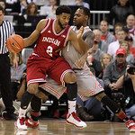 Indiana's Christian Watford, left, posts up against Ohio State's Deshaun Thomas during the first half of an NCAA college basketball game on Sunday, Feb. 10, 2013, in Columbus, Ohio. (AP Phot …