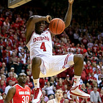 Indiana's Victor Oladipo (4) dunks during the second half of an NCAA college basketball game against Ohio State, Tuesday, March 5, 2013, in Bloomington, Ind. Ohio State won 67-58. (AP Photo/ …