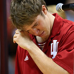 Indiana guard Jordan Hulls wipes his face during his senior night speech following an NCAA college basketball game against Ohio State Wednesday, March 6, 2013, in Bloomington, Ind. Ohio Stat …