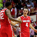 Ohio State's Aaron Craft (4) and Sam Thompson celebrate late in the second half of an NCAA college basketball game against Indiana, Tuesday, March 5, 2013, in Bloomington, Ind. Ohio State wo …
