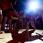 Indiana's Victor Oladipo is greeted by teammates during introductions before an NCAA college basketball game against Ohio State, Tuesday, March 5, 2013, in Bloomington, Ind. (AP Photo/Darron …